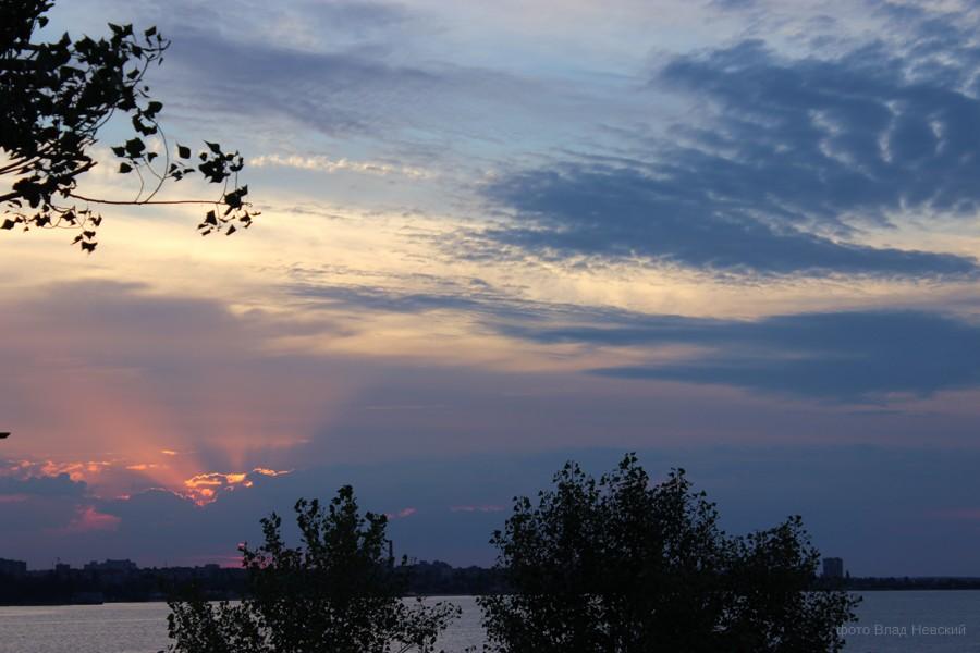 закат, на Днепре